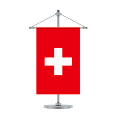 Swiss flag on the cross metallic pole vector