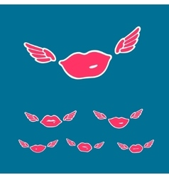 Symbols Set Flying Kiss vector