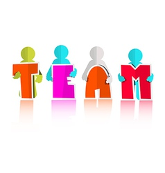 Team Title with Paper Cut People vector image