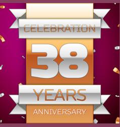 thirty eight years anniversary celebration design vector image