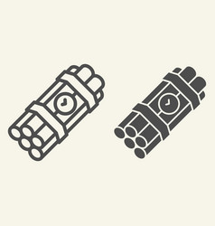 Time bomb line and glyph icon dynamite vector