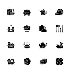 trendy tableware black glyph icons set on white vector image
