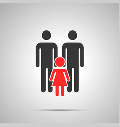 Two dads with child silhouette simple black icon vector