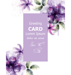 Violet flowers watercolor card purple vector