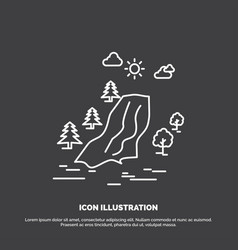 Waterfall tree pain clouds nature icon line vector