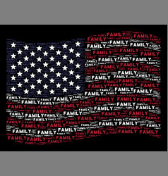 Waving usa flag stylization of family text items vector