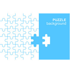 White details puzzle on blue background vector