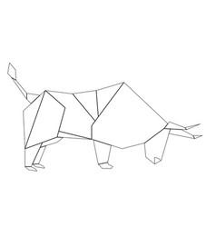 White origami bull vector
