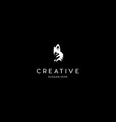 Wolf head animal creative logo design vector