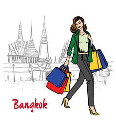 woman near grand palace and wat prakeaw vector image