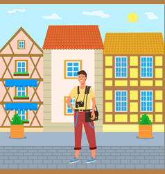 young male photographer and house facades vector image