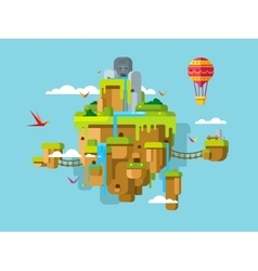 Imaginary Soaring Island on a Blue Sky Background vector image vector image