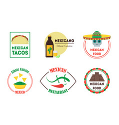 mexican food badges or labels set vector image