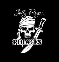 pirate skull with sword jolly roger flag design vector image vector image