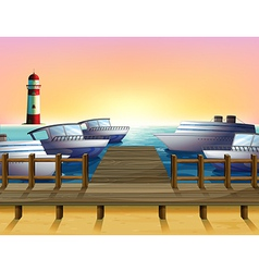 The port and the sunset view vector
