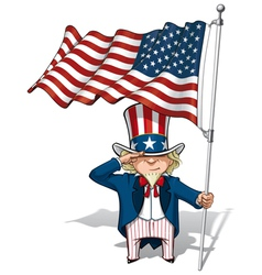 Uncle Sam Saluting the US Flag vector image vector image