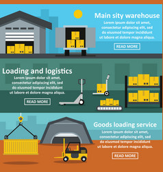 warehouse banner horizontal set flat style vector image