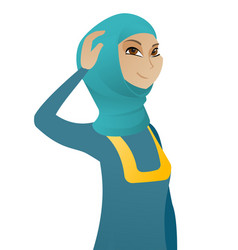 young muslim business woman scratching her head vector image