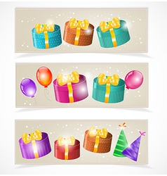 Banners with gift boxes and balloons vector image