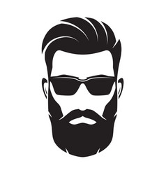 bearded men face hipster character vector image vector image