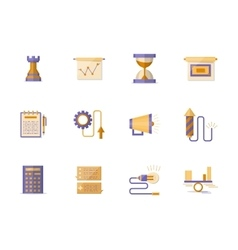 Business planning flat color icons vector image
