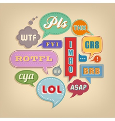 Comic Speech Bubbles Set with popular acronyms vector image vector image