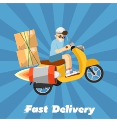 Fast delivery banner boy riding yellow scooter vector