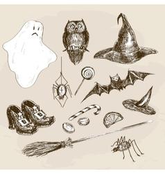 Halloween hand drawn set vector image