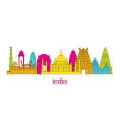 india architecture landmarks skyline line style vector image