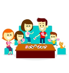 Playing Fun Card Games with Family vector image vector image