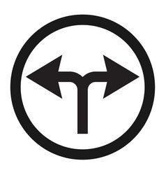 turn left or right traffic sign line icon vector image