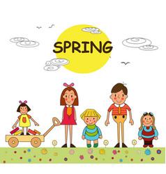children spring vacation in park spring park vector image
