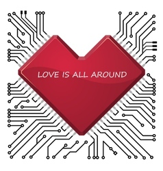 Circuit board with stylized chip vector image