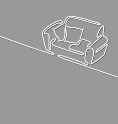 continuous line drawing interior with sofa vector image