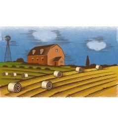 Farm landscape Engraved Color vector image