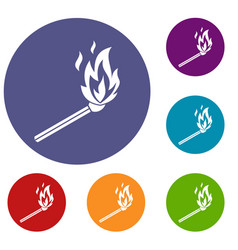 match flame icons set vector image vector image