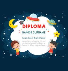 of preschool kids diploma vector image