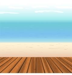 wooden floor against sea vector image vector image