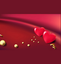 3d hearts balloons with golden beads on beautiful vector image