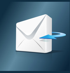 3d mail and blue arrow isolated on white vector