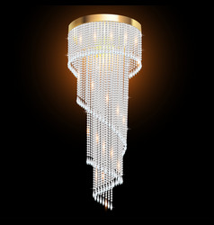 a crystal chandelier on a dark background vector image