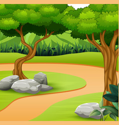 A dirt path in nature background vector