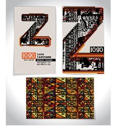 Ancient Business card design LETTER Z vector