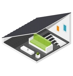 Attic of a private house isometric icon set vector image