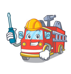 automotive fire truck mascot cartoon vector image