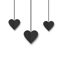 Background of hearts hanging on strings vector image