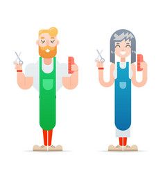 Barber hipster geek characters male and female vector