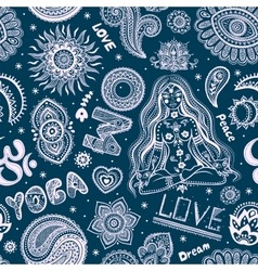 beautiful seamless yoga pattern with ornaments vector image
