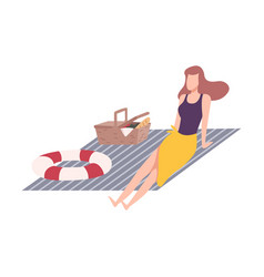 beautiful woman on a picnic girl relaxing vector image