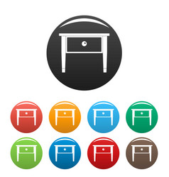 bed side table icons set color vector image